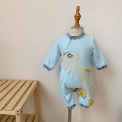 2019新款恐龙夹薄棉连体衣 90码衣长:64cm 蓝色恐龙