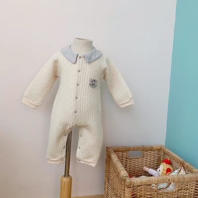 2019新款娃娃领空气层对开连体衣 90码衣长:63cm 米黄