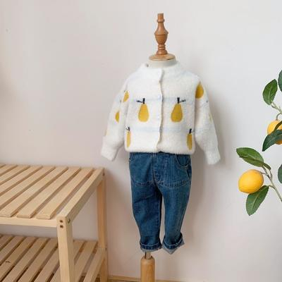 2019新款貂绒毛衣开衫-雪梨 80码衣长:37cm 白色