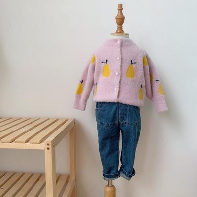2019新款貂绒毛衣开衫-雪梨 120码衣长:46cm 杏色
