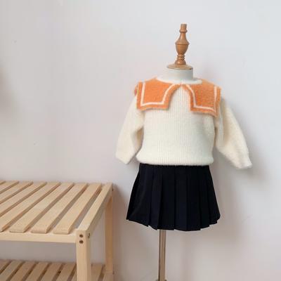 2019新款貂绒毛衣-海军领 80码衣长:33cm 橙色