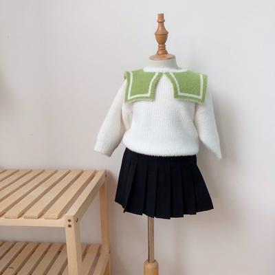 2019新款貂绒毛衣-海军领 80码衣长:33cm 绿色