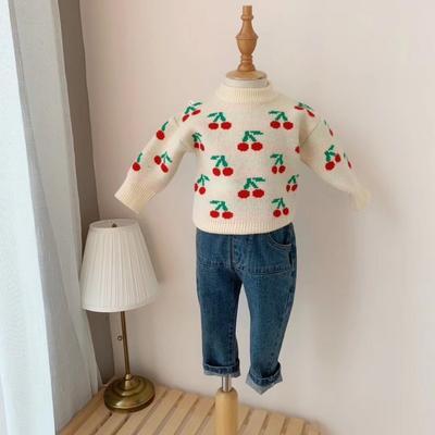 2019新款卡通毛衣 80码衣长:33cm 白色樱桃
