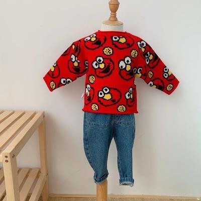 2019新款芝麻街毛衣 80码衣长:38cm 红色