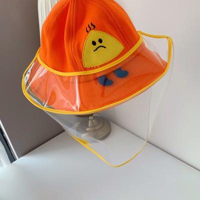 2020新款儿童疫情防飞沫渔夫帽(含面罩) 橙色适合1-6岁头围52cm-54cm