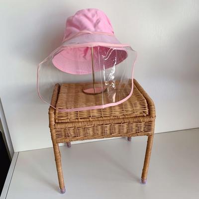 2020新款儿童/成人疫情防飞沫渔夫帽(含面罩) 粉小号(适合2-10岁)