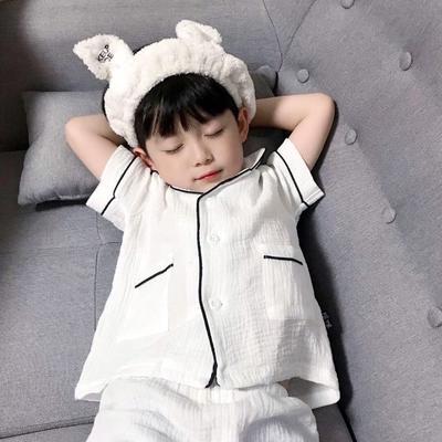 2020新款短袖纱布居家服 100码:衣长41cm,裤长27cm 白色黑条