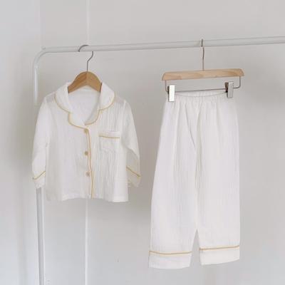 2020新款长袖纱布居家服 100码:衣长41cm,裤长57cm 白色黄条
