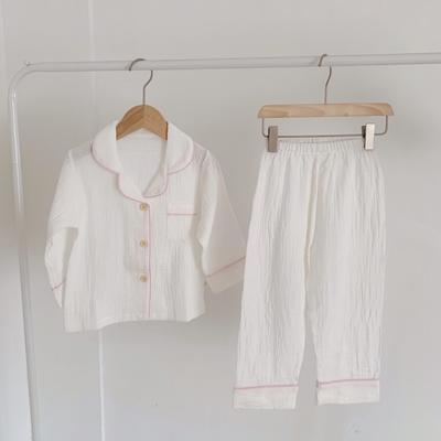 2020新款长袖纱布居家服 100码:衣长41cm,裤长57cm 白色粉色