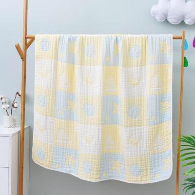 2020新款八层全棉纱布浴巾盖毯 115*115cm 黄色
