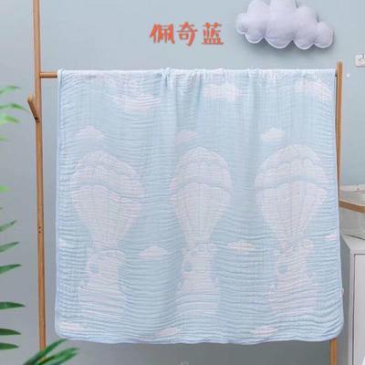 2020新款六层竹棉纱布浴巾盖毯 105*105cm 佩奇蓝