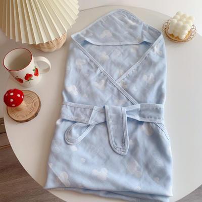 2020新款竹纤维纱布抱被 90*90cm 蓝