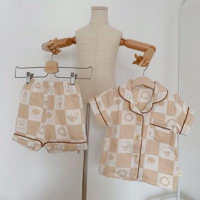2020新款天然有机彩棉提花纱布儿童居家服(短袖) 110码 :衣长45cm,裤长28cm 短袖