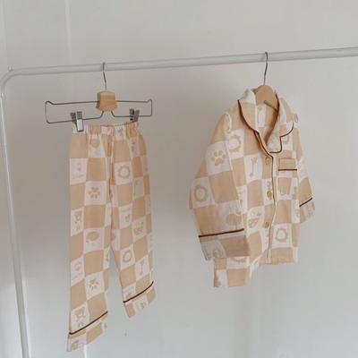 2020新款天然有机彩棉提花纱布儿童居家服(长袖) 110码 :衣长45cm,裤长63cm 长袖