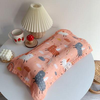 2020新款全棉纱布儿童枕30*50cm 彩虹羊