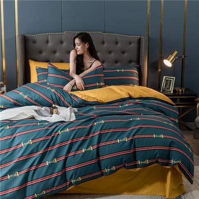 2020新款40S贡缎轻奢圆网印花四件套 1.8m床单款四件套 柏尔曼