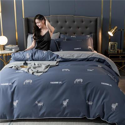 2020新款40S贡缎轻奢圆网印花四件套 1.8m床单款四件套 斑马 蓝