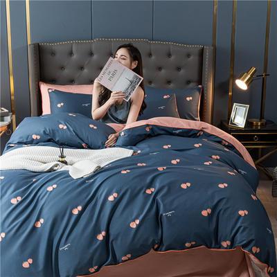 2020新款40S贡缎轻奢圆网印花四件套 1.8m床单款四件套 草莓 蓝
