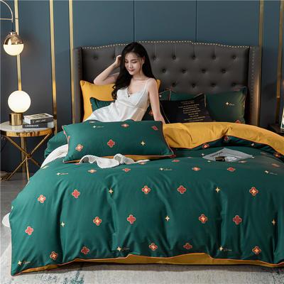 2020新款40S贡缎轻奢圆网印花四件套 1.8m床单款四件套 克洛拉 绿