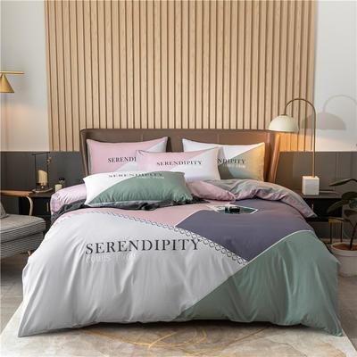2020新款40S贡缎轻奢平网印花四件套 1.8m床单款四件套 达西利尔 紫