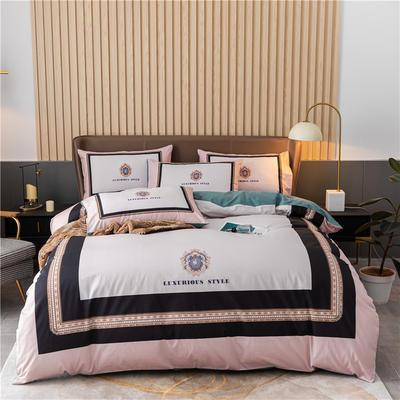 2020新款40S贡缎轻奢平网印花四件套 1.8m床单款四件套 皇家浪漫 粉绿