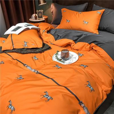 2020新款轻奢60S长绒棉四件套 1.8m床单款四件套 爱马士 橙