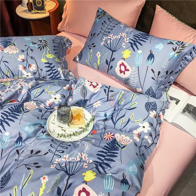 2020新款轻奢60S长绒棉四件套 1.8m床单款四件套 繁花梦境 紫