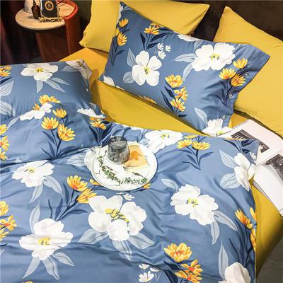 2020新款轻奢60S长绒棉四件套 1.8m床单款四件套 卉语 蓝