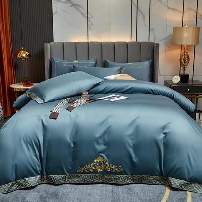 2021新款60S长绒棉四件套维雅娜 1.8m床单款四件套 维雅娜(藏蓝色)