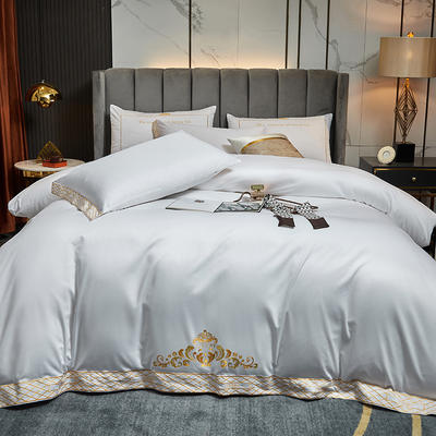 2021新款60S长绒棉四件套维雅娜 1.5m床单款四件套 维雅娜(珍珠白)