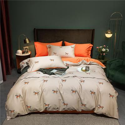 2021新款60长绒棉印花四件套 1.5m(5英尺)床 爱马仕  咖