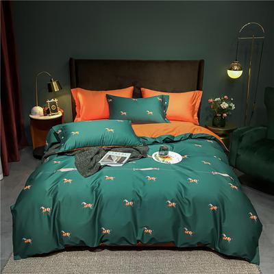 2021新款60长绒棉印花四件套 1.5m(5英尺)床 爱马仕 绿