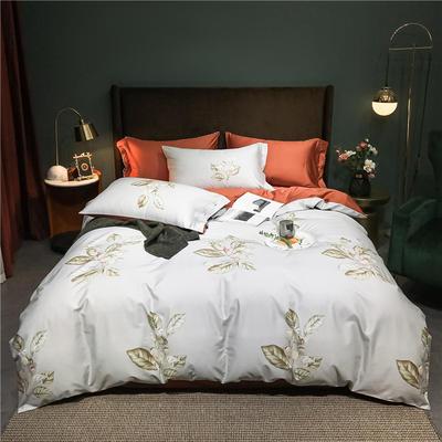 2021新款60长绒棉印花四件套 1.5m(5英尺)床 含苞待放 浅灰