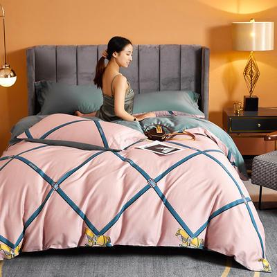 2021新款60长绒棉印花四件套 1.5m(5英尺)床 简意生活 粉
