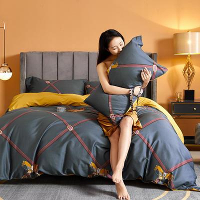 2021新款60长绒棉印花四件套 1.5m(5英尺)床 简意生活 褐