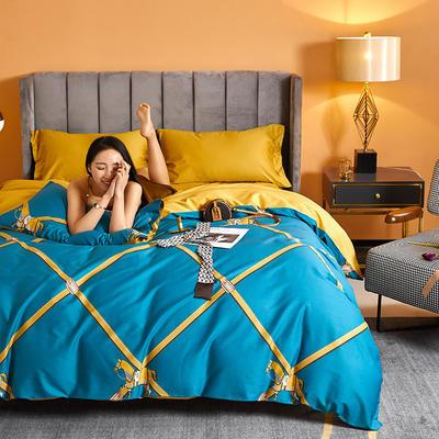2021新款60长绒棉印花四件套 1.5m(5英尺)床 简意生活 兰