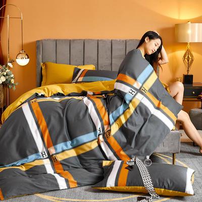 2021新款60长绒棉印花四件套 1.5m(5英尺)床 卡罗尔 灰