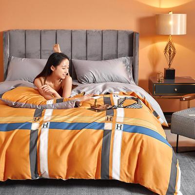 2021新款60长绒棉印花四件套 1.5m(5英尺)床 卡罗尔 桔