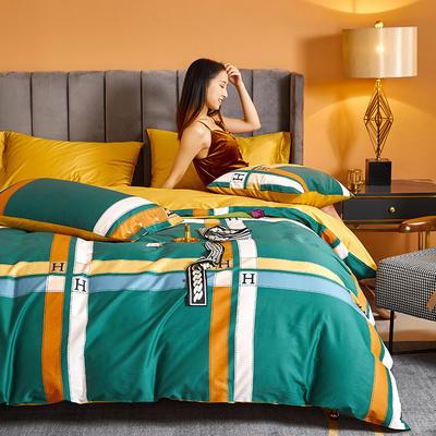 2021新款60长绒棉印花四件套 1.5m(5英尺)床 卡罗尔 绿