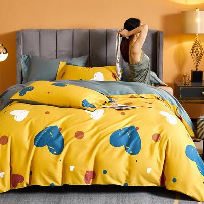 2021新款60长绒棉印花四件套 1.5m(5英尺)床 快乐时光 黄