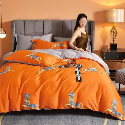 2021新款60长绒棉印花四件套 1.5m(5英尺)床 马踏飞燕 桔