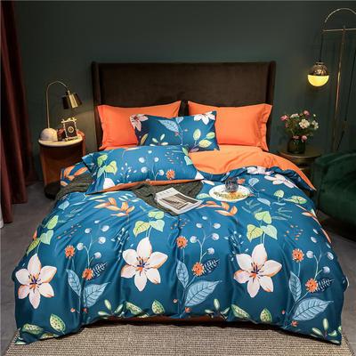 2021新款60长绒棉印花四件套 1.5m(5英尺)床 盛夏光年 蓝