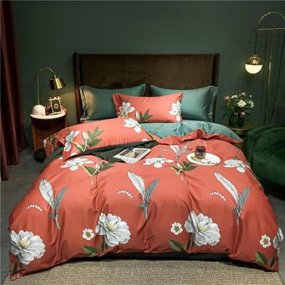 2021新款60长绒棉印花四件套 1.5m(5英尺)床 相伴  桔