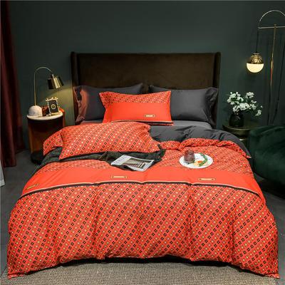 2021新款60长绒棉印花四件套 1.5m(5英尺)床 英伦印象  红