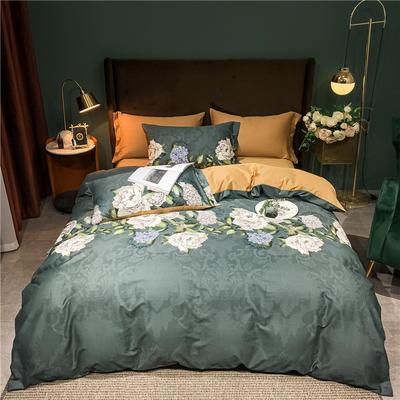 2020新款轻奢60S长绒棉四件套 2.0m床单款四件套 盛世花颜 灰绿