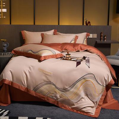 2021新款60支长绒棉古斯特刺绣四件套 1.8m床单款四件套 古斯特(卡其)