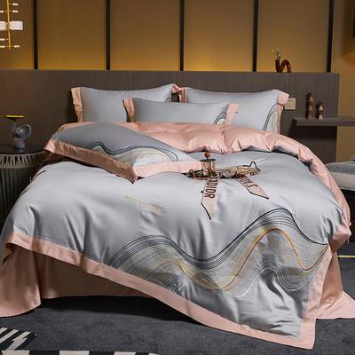 2021新款60支长绒棉古斯特刺绣四件套 1.8m床单款四件套 古斯特(太空灰)