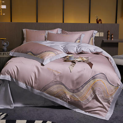 2021新款60支长绒棉古斯特刺绣四件套 1.8m床单款四件套 古斯特(温馨紫)