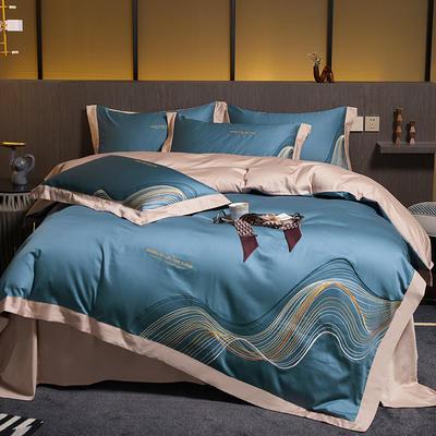 2021新款60支长绒棉古斯特刺绣四件套 1.8m床单款四件套 古斯特(雾霾蓝)