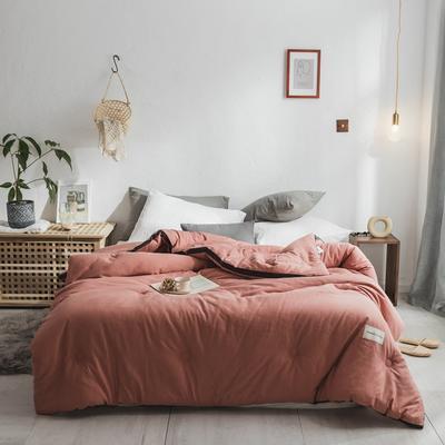 2018新款灰边条全棉水洗棉系列冬被 220*240 8.5斤 立体深绯红